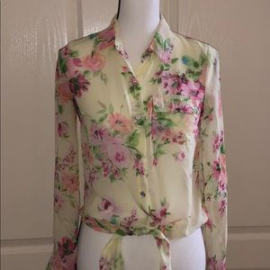 Light Yellow Floral Sheer Blouse - Size Small